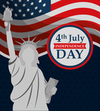 statue of liberty waving flag american independence day vector illustration