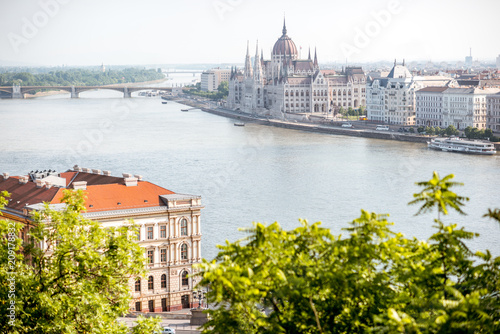 Landscape view on Budapest city with famous Parliament building on Danube river during the morning light in Hungary © rh2010