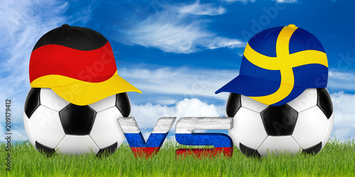 germany and sweden baseball cap on black white soccer ball green sport field grass background with blue sky