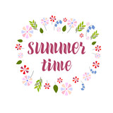 Hand drawn lettering phrase Summer time - 209180085