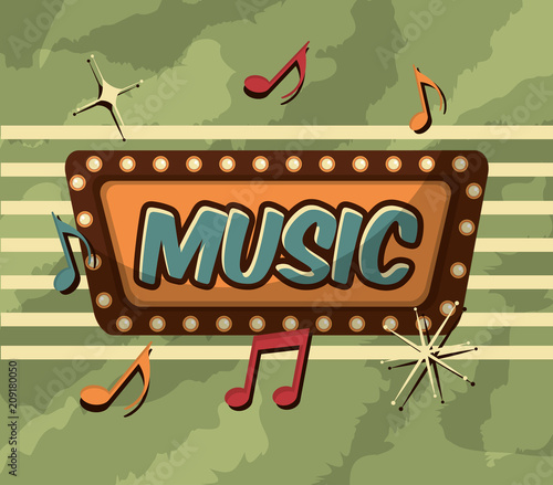 retro vintage music billboard light notes vector illustration