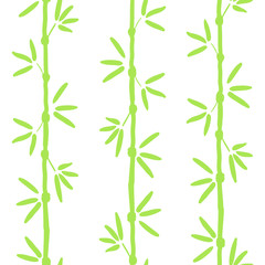 Vector seamless bamboo pattern. Green asian pattern with tropical bamboo tree. For wallpapers, web background, textile, wrapping, fabric, kids design. © Екатерина Волынщиков