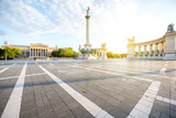 Morning view on the empty Heroes square with monument and column during the sunny weather in Budapest, Hungary - 209181474