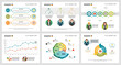 Colorful statistics or research concept infographic charts set. Business design elements for presentation slide templates. For corporate report, advertising, leaflet layout and poster design.