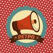 retro vintage megaphone label dotted background style vector illustration - 209182211