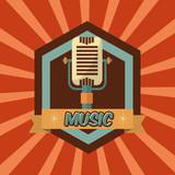 retro vintage microphone music sound emblem vector illustration - 209182224