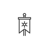 Medieval vertical flag outline icon. linear style sign for mobile concept and web design. Knight flag simple line vector icon. Symbol, logo illustration. Pixel perfect vector graphics - 209182296