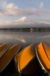 Leinwanddruck Bild - Mountain Fuji and Kawaguchiko lake in early morning