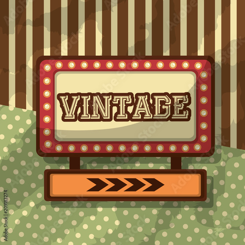 Aluminium Vintage Poster placard light retro vintage dotted and striped background vector illustration