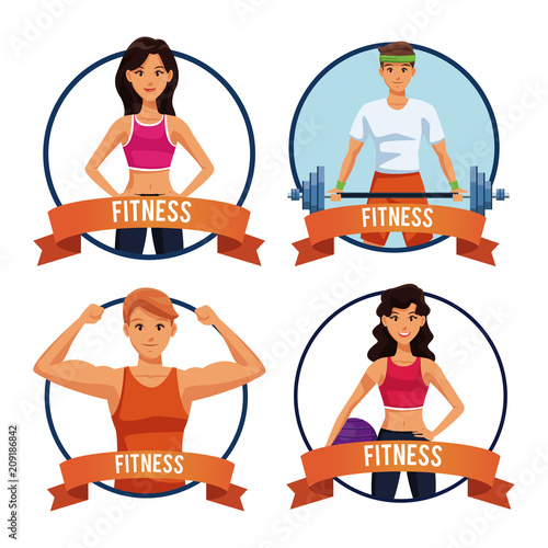 Poster Set of Fitness people round icon emblem with blank ribbon banner vector illustration graphic design