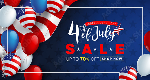 Independence day USA sale promotion advertising banner template american balloons flag decor.4th of July celebration poster template.voucher discount.Vector illustration . - 209188230