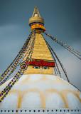 Boudhanath stupa in Kathmandu, Nepal. Stormy clouds in the background.  - 209189845