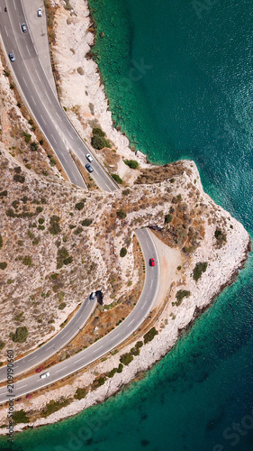 Aluminium Nice Aerial drone bird's eye view photo of Tunnel in Athens riviera seaside road known as hole of Karamanlis, Attica, Greece