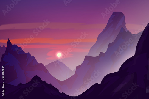 Fotobehang Violet Snowy mountains in the evening. Sunset. Digital drawing.