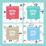 Summer sale website banners collection. Trendy vector illustration concept for online shopping, internet marketing and print material.  - 209191275