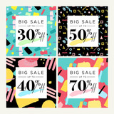 Set of mobile banners. Summer sale. Vector illustration concept for social media banners, marketing material, online advertising. - 209191470