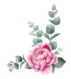 Watercolor vector wreath with green eucalyptus leaves, peony flowers and branches. - 209192438