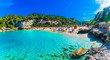 Leinwanddruck Bild - Panoramic view of Cala Llombards beach with turquoise clean water in Mallorca island, Spain