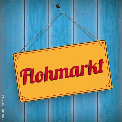 Schild Flohmarkt auf blauen Holzwand - 209194499