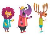 Cartoon hipster animals set. Animal in clothing. Casual style. Cartoon vector illustration.  Lion, crocodile,  rhino. Flat style illustration