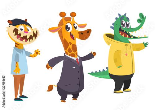Cartoon hipster animals set. Animal in clothing. Casual style. Cartoon vector illustration. Tiger, giraffe, crocodile. Flat style illustration