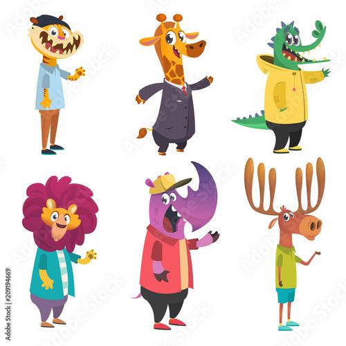 Cartoon hipster animals set. Animal in clothing. Casual style. Cartoon vector illustration. Tiger, giraffe, lion, crocodile, moose, rhino. Flat style illustration