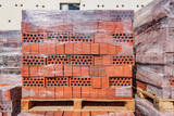 Red bricks on the construction site. - 209195636
