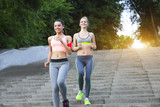 Runners training outdoors working out in the park - 209197818