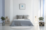 Grey bed between plants in white simple bedroom interior with poster and round rug. Real photo - 209198238
