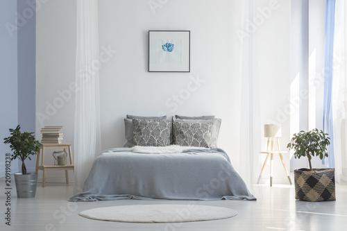 Szare łóżko pomiędzy roślinami w białym prostym wnętrzu sypialni z plakatem i okrągłym dywanikiem. Prawdziwe zdjęcie