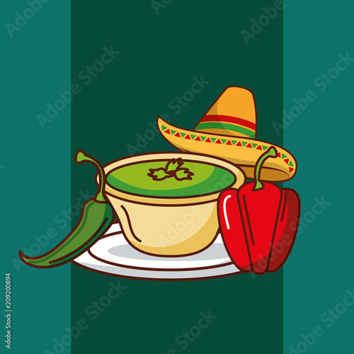 chili and bell pepper and hat mexican food vector illustration