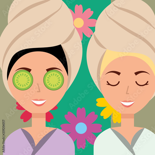Aluminium Spa women with towel on head flowers spa wellness vector illustration