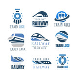 Train logo original design set, modern railway railroad transport emblem badge vector Illustrations