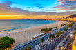 Leinwanddruck Bild - Sunrise view of Copacabana beach and Avenida Atlantica in Rio de Janeiro, Brazil