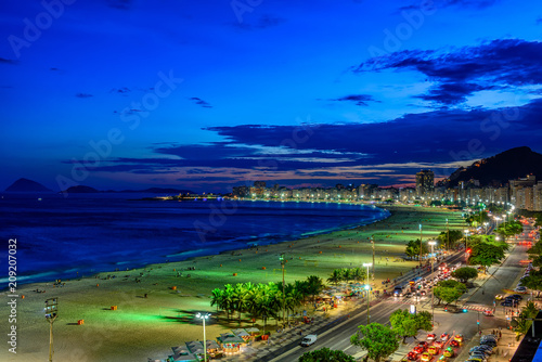 Night view of Copacabana beach and Avenida Atlantica in Rio de Janeiro, Brazil