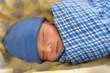 Cute Eurasian newborn baby sleeping  - 209209254