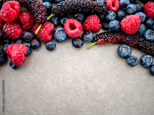 A variety of berries, raspberries, blueberries, mulberries, on a gray background with a place for text - 209209624