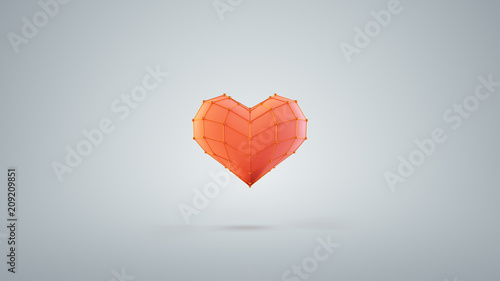 Red heart shape are jumping 3D render