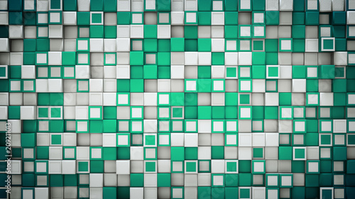 Wall of green and white 3D cubes abstract background