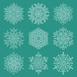 Leinwanddruck Bild - Set of white snowflakes. Fine winter ornaments. Snowflakes collection. Snowflakes for backgrounds and designs