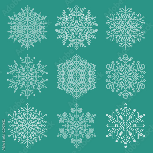 Leinwanddruck Bild Set of white snowflakes. Fine winter ornaments. Snowflakes collection. Snowflakes for backgrounds and designs