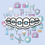 orthodontics dental care and treatment therapy vector illustration