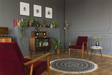 Radio on cabinet in vintage grey living room interior with rug and wooden armchairs. Real photo - 209214849