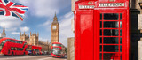 London symbols with BIG BEN, DOUBLE DECKER BUS and Red Phone Booths in England, UK - 209215024