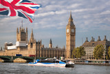 Big Ben with boat in London, England, UK - 209215061