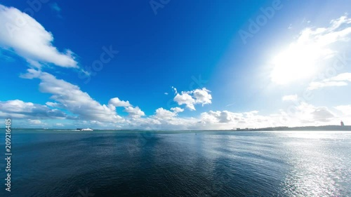 Time-lapse view of fast moving clouds front of the blue sky above the river Tejo as boats pass by