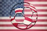 Soccer ball national USA flag. American football ball. - 209216889