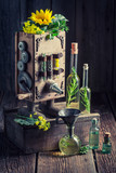 Closeup of extraordinary and wooden virgin oil machine - 209216896