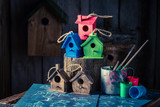Cute and small bird house and blue construction scheme - 209217431