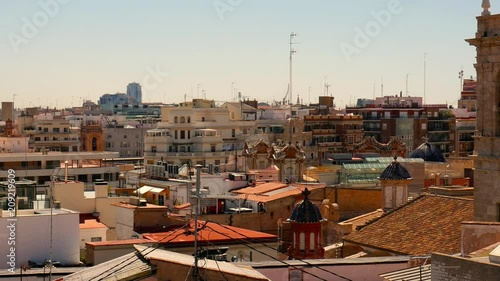 Panoramic view on the historic buildings in the Old town of Valencia, Spain